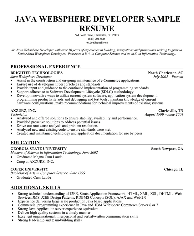 Java Developer Sample Resume,Sample Resume Java Programmer Resume ...