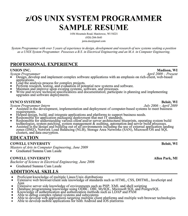 Programming Resume Resume Software Engineer Programmer Office