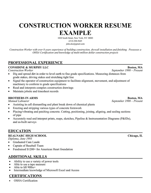 Sample Construction Resume] Construction Supervisor Resume Laborer