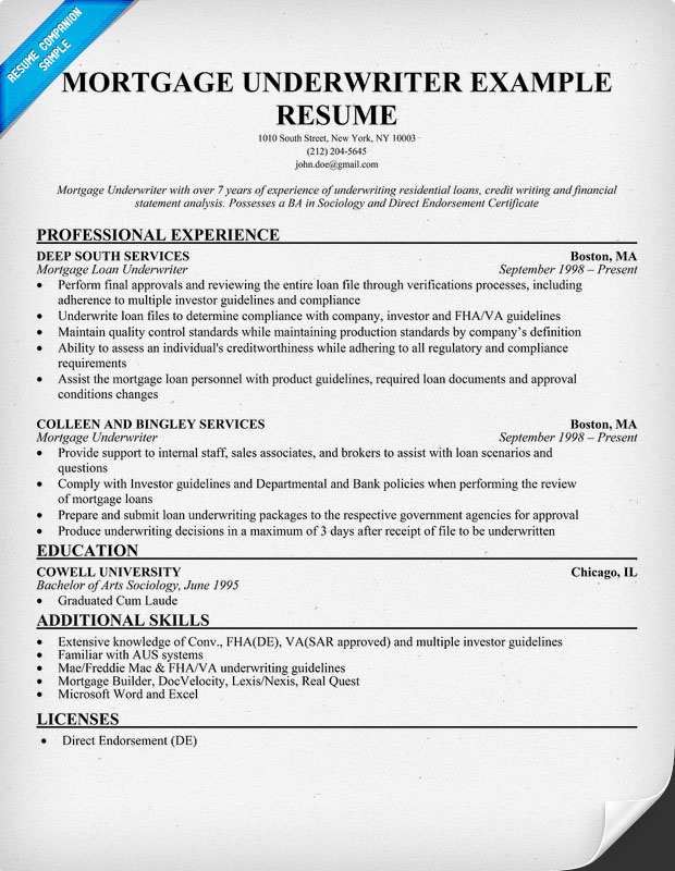 Mortgage Underwriter Resume Sample