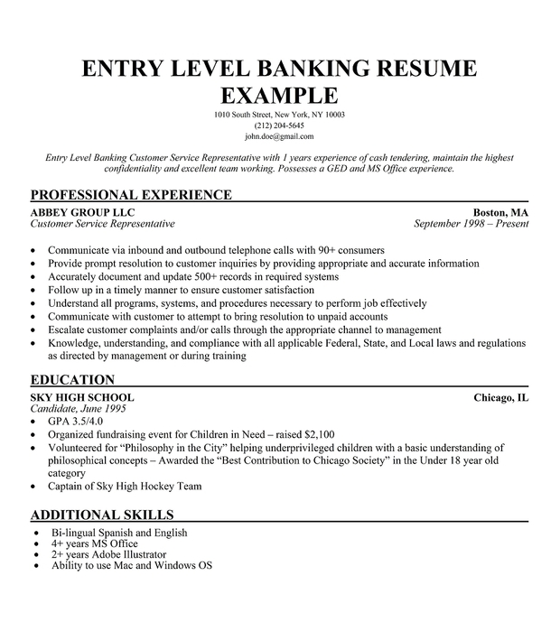 Entry Level Banking Resume Sample