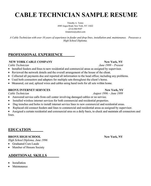 experience sample cable technician resume satellite tv technician