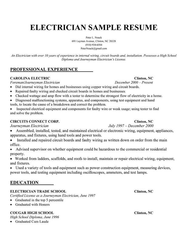 Electrician Resume Examples] The Resume Samples Menu Click Here