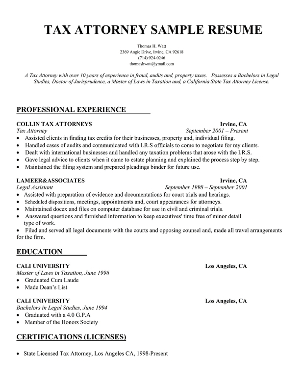Tax Attorney Resume Sample