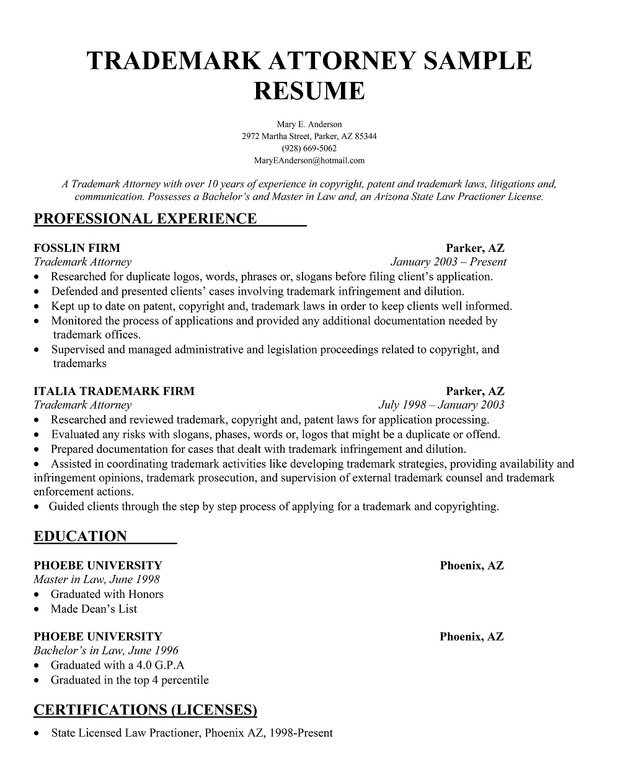 Trademark Attorney Resume Sample