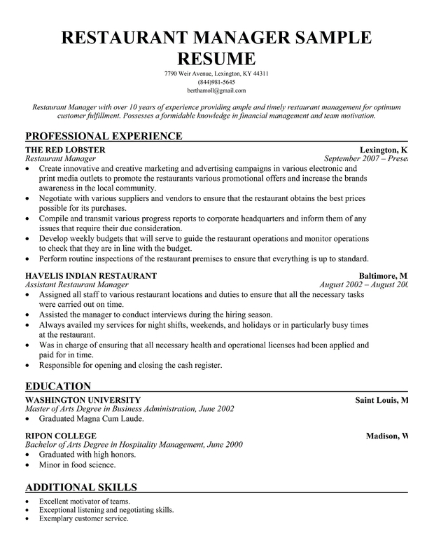 resume examples resume objectives for managers resume example brefash cv for general manager hotel assistant general