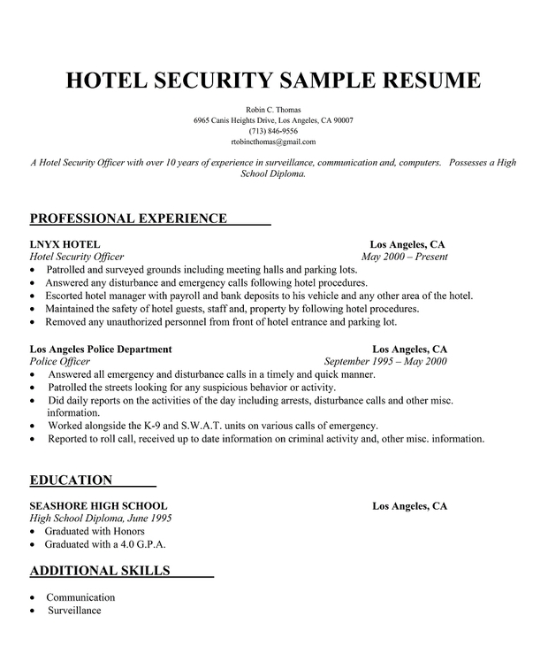 Hotel Security Sample Resume