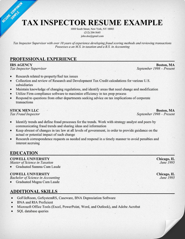 Tax Inspector Resume Sample