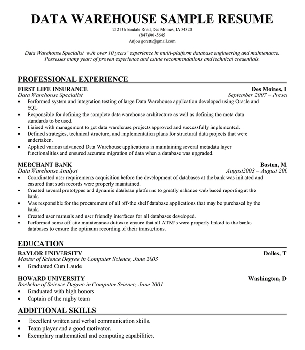 Data Architect Resume / Sales / Architect - Lewesmr