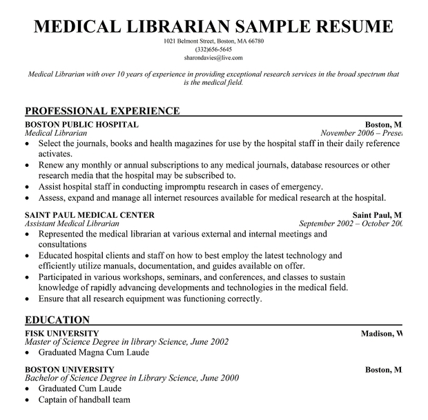 Medical Librarian Resume Sample