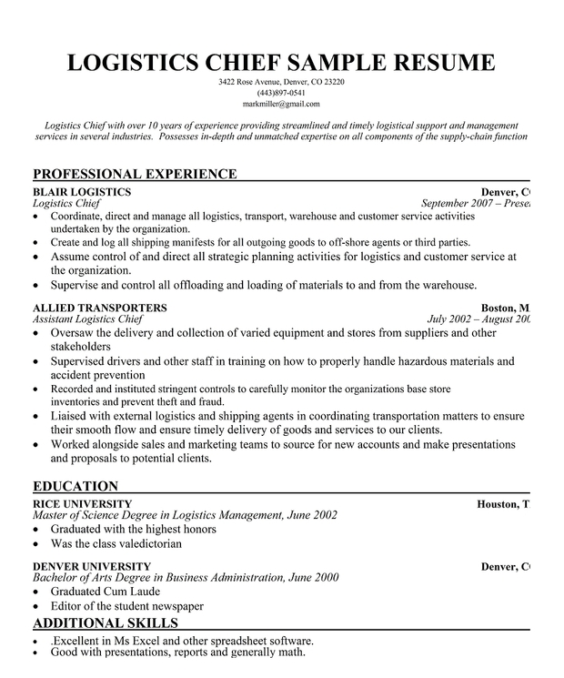 Logistics Chief Resume Sample