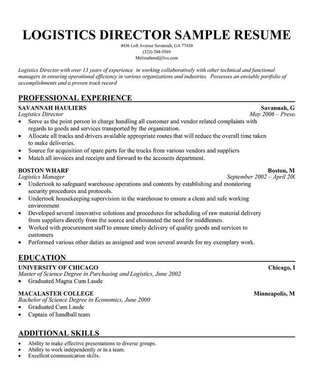 Logistics Director Resume Sample