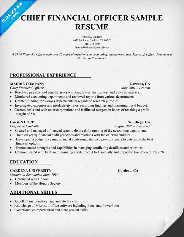 cfo sle resume chief financial officer resume