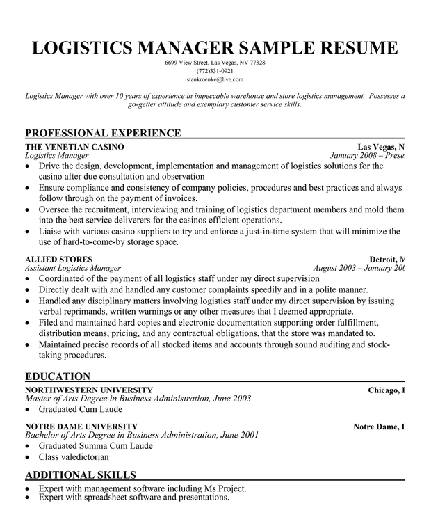 Logistics Manager Resume Sample