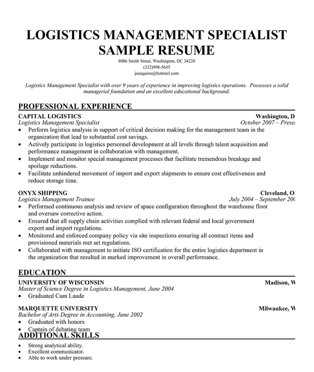 Logistics Management Specialist Resume Sample