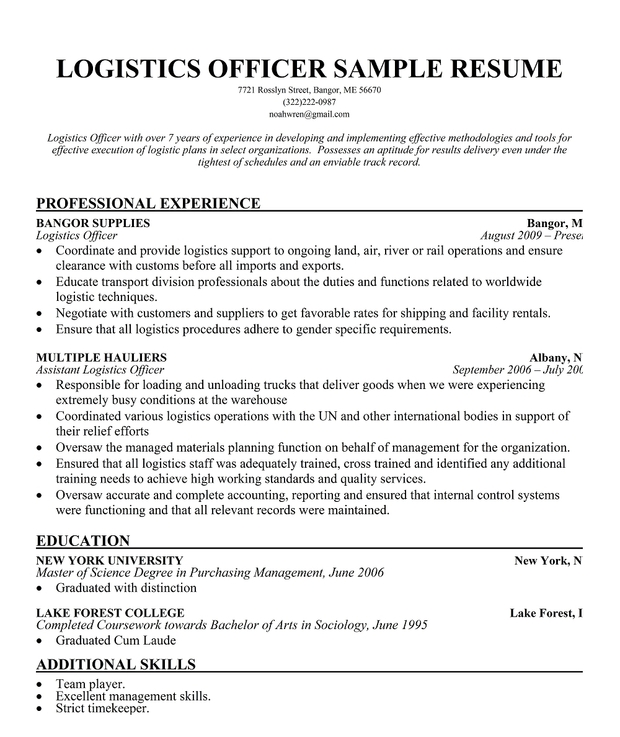 Logistics Officer Resume Sample