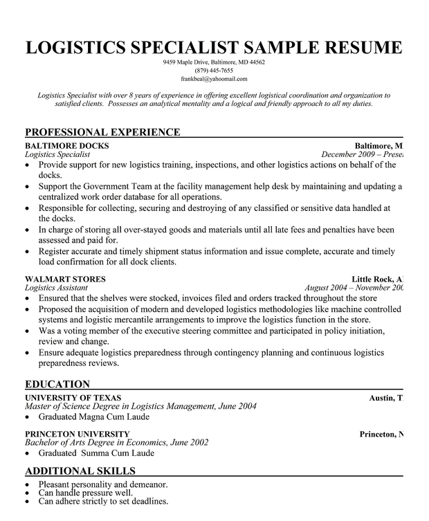 Resume For Logistics Job Example Good Resume Template Useful Materials For  Logistics
