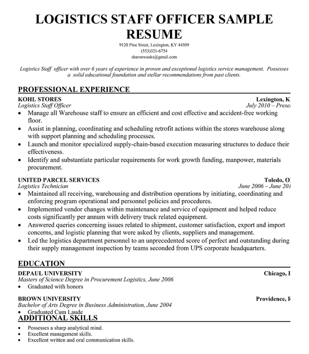 Logistics Staff Officer Resume Format