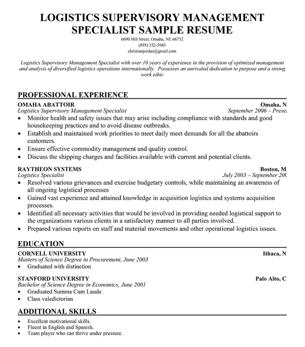 Logistics Supervisory Management Specialist Resume