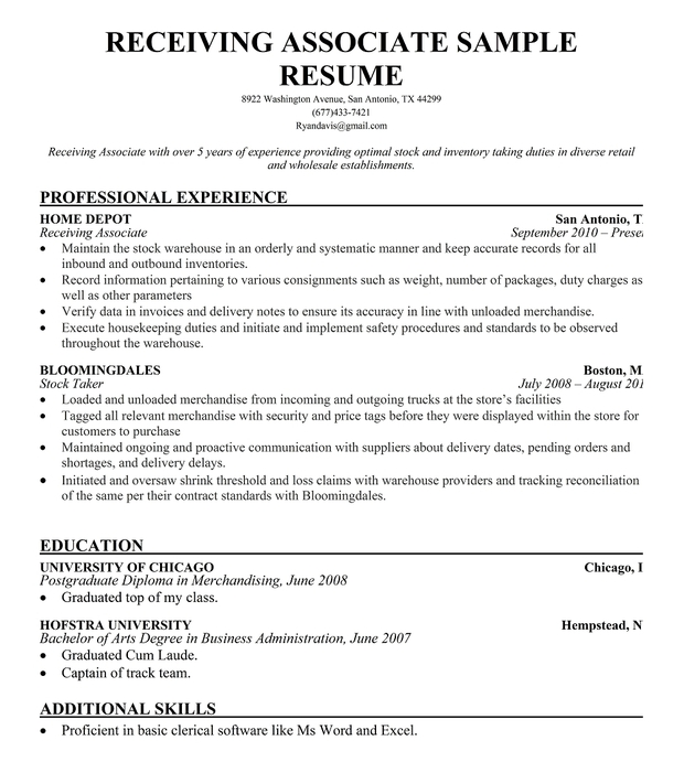 Receiving Associate Resume Sample