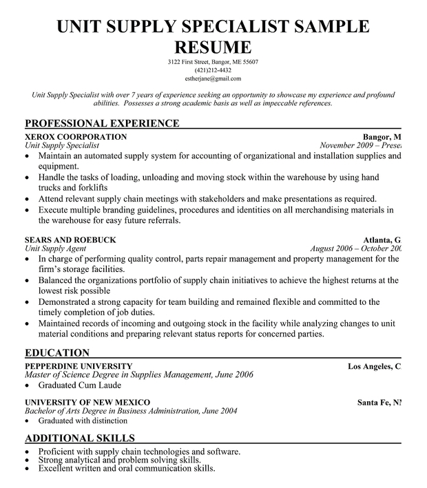 Unit Supply Specialist Resume Sample
