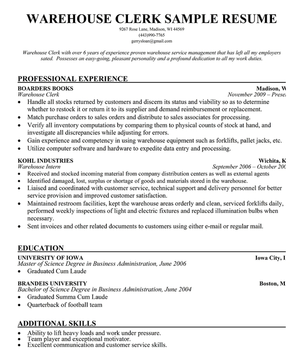 Warehouse Clerk Resume Sample