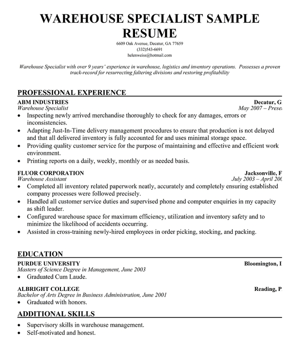 Warehouse Specialist Resume Sample