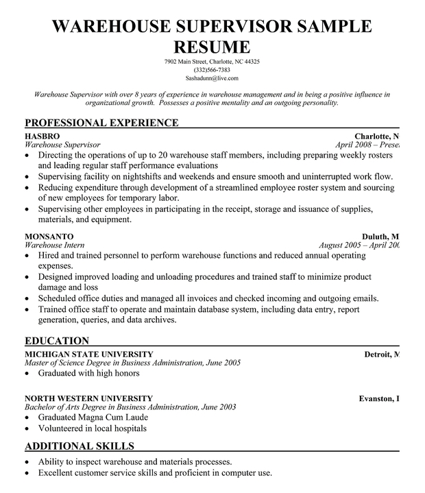 resume samples for supervisor positions - resume format resume format latest for warehouse