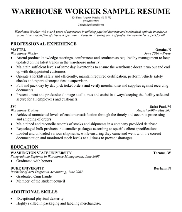 Warehouse Worker Resume Sample