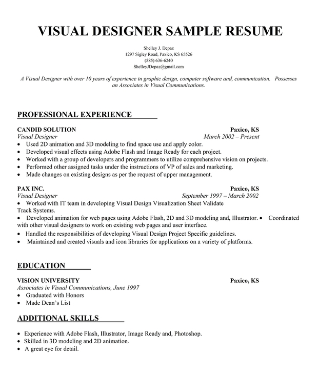 Visual Designer Resume Sample