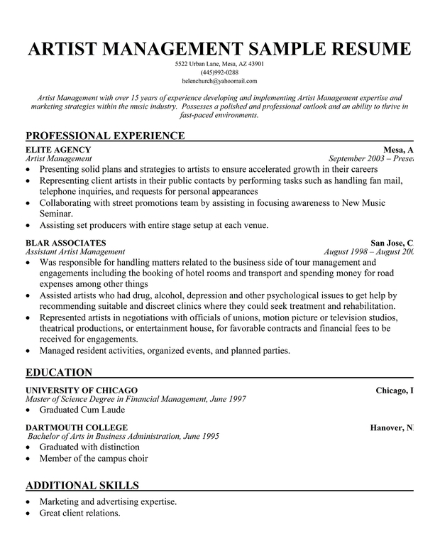 Sample Artist Management Resume | Template