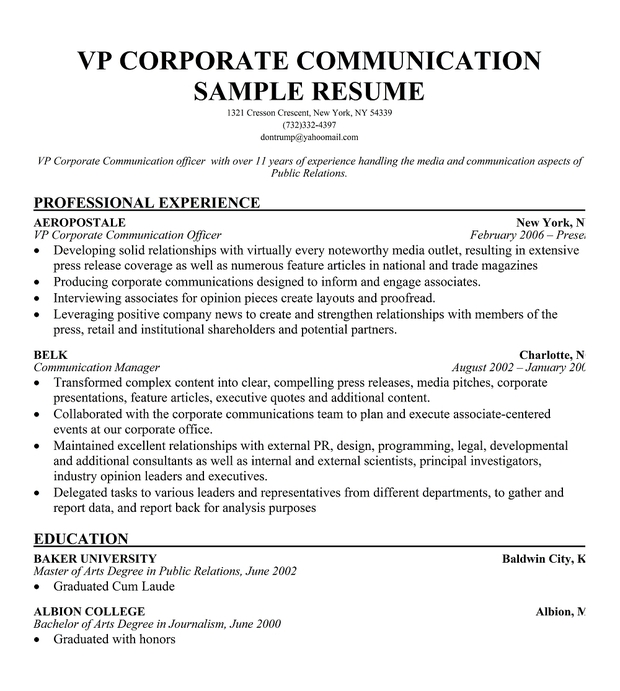 VP Corporate Communication Resume