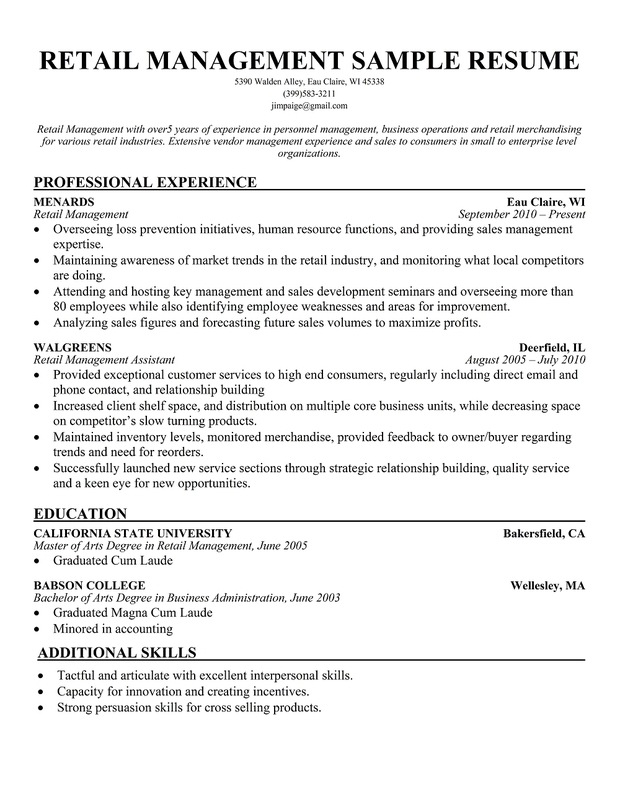 sample resume for assistant manager in retail - cv writing retail manager