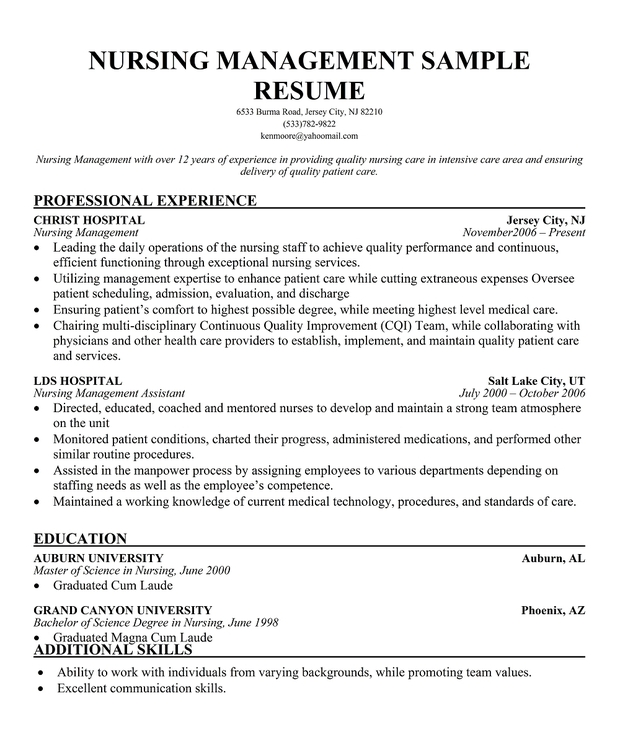 Nursing Management Sample Resume